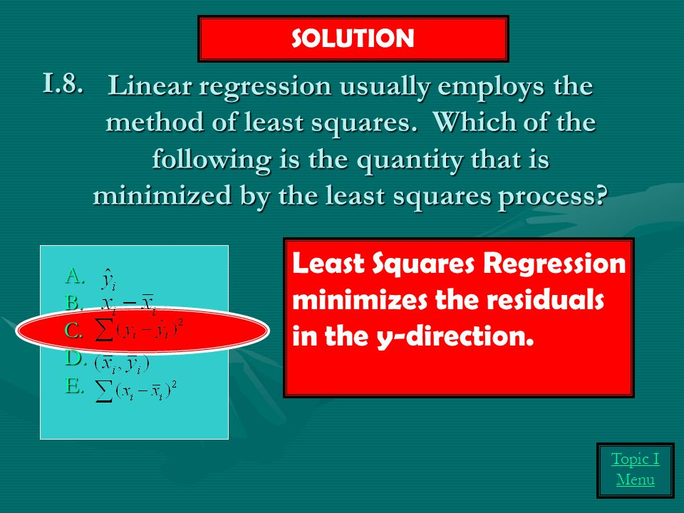 Least Squares Regression minimizes the residuals in the y-direction.