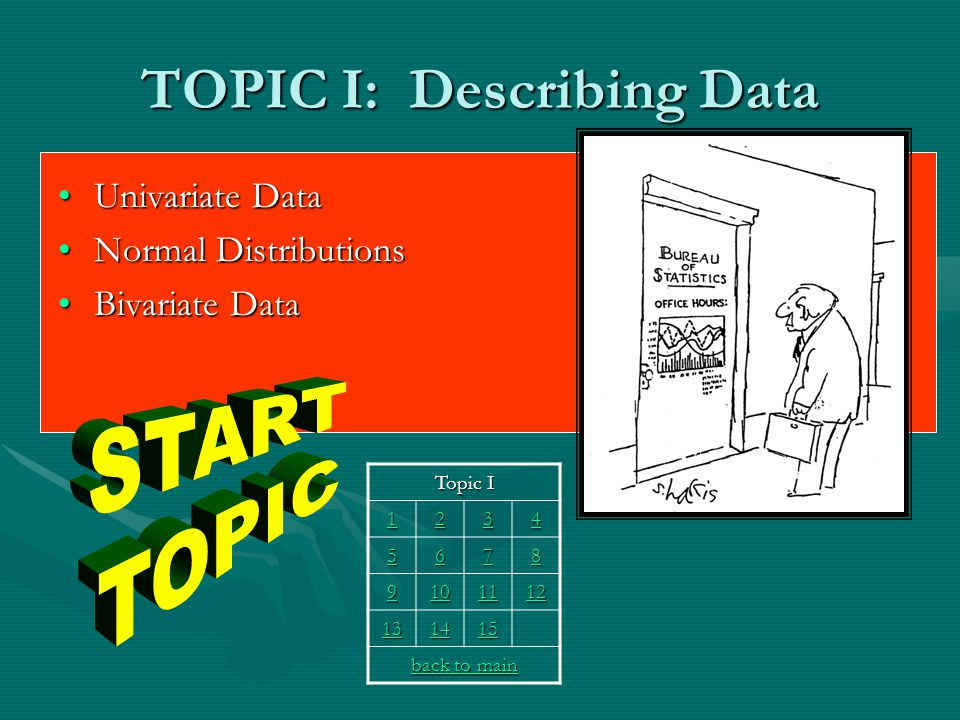 TOPIC I: Describing Data