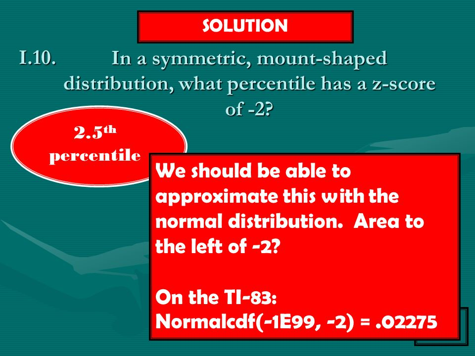 SOLUTION In a symmetric, mount-shaped distribution, what percentile has a z-score of -2 I.10. 2.5th percentile.