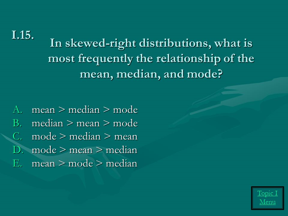 In skewed-right distributions, what is most frequently the relationship of the mean, median, and mode
