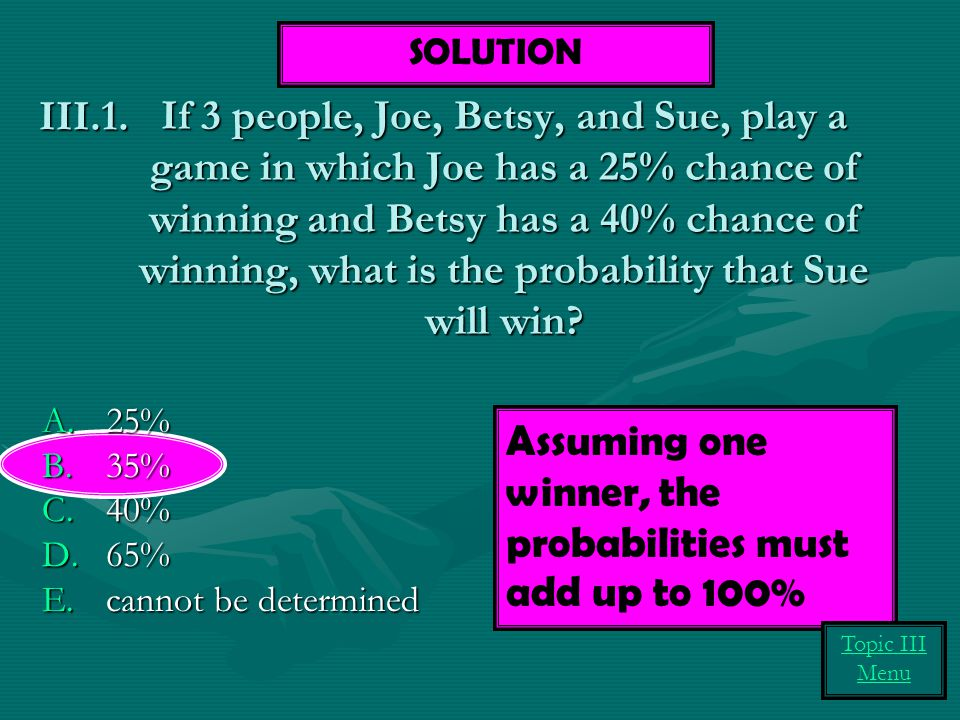 Assuming one winner, the probabilities must add up to 100%