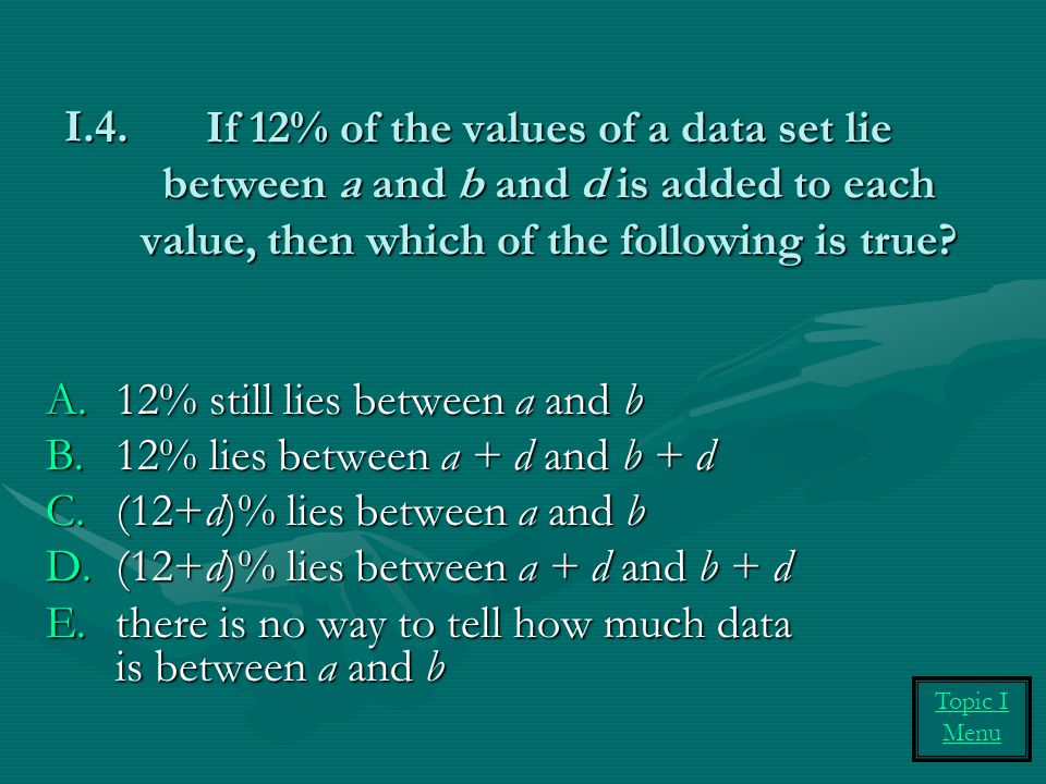 12% still lies between a and b 12% lies between a + d and b + d