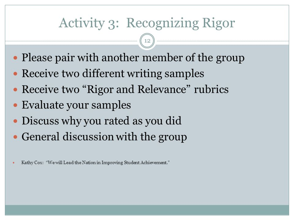 Activity 3: Recognizing Rigor