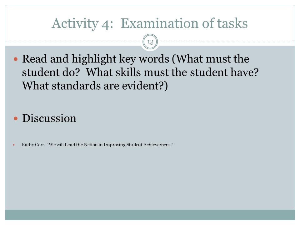 Activity 4: Examination of tasks