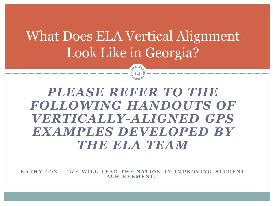 What Does ELA Vertical Alignment Look Like in Georgia