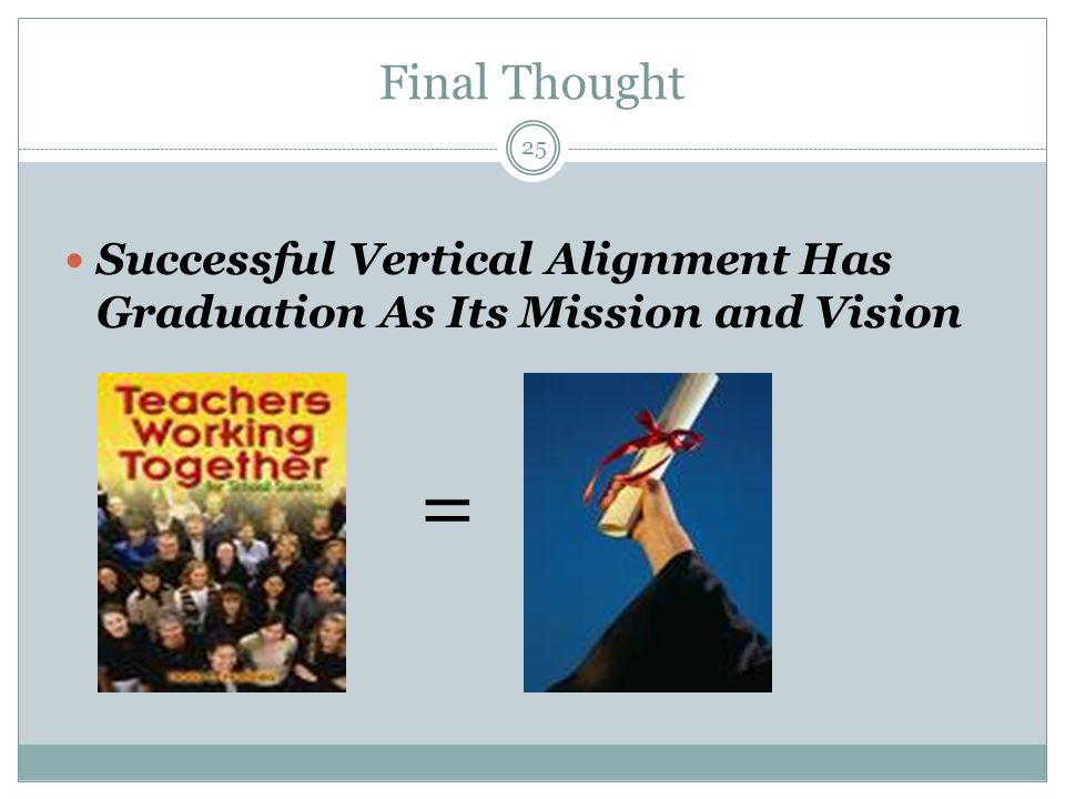 Final Thought Successful Vertical Alignment Has Graduation As Its Mission and Vision =