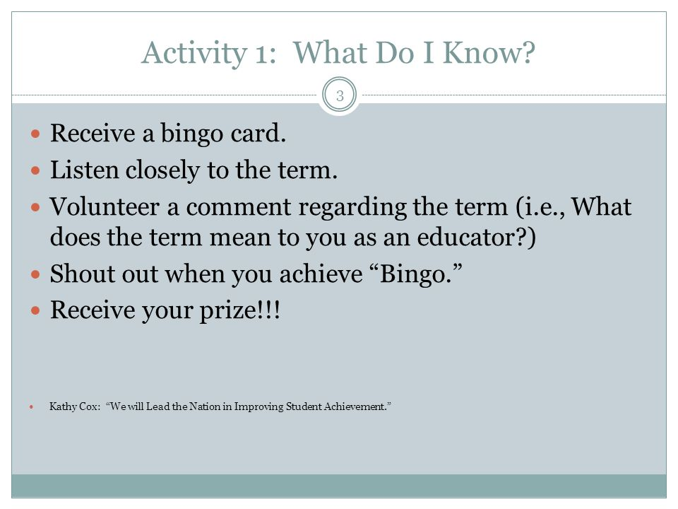 Activity 1: What Do I Know
