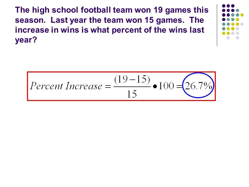 The high school football team won 19 games this season