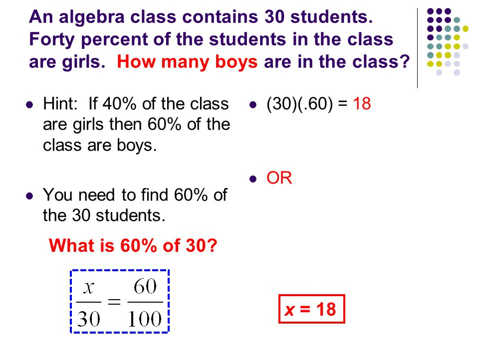 An algebra class contains 30 students