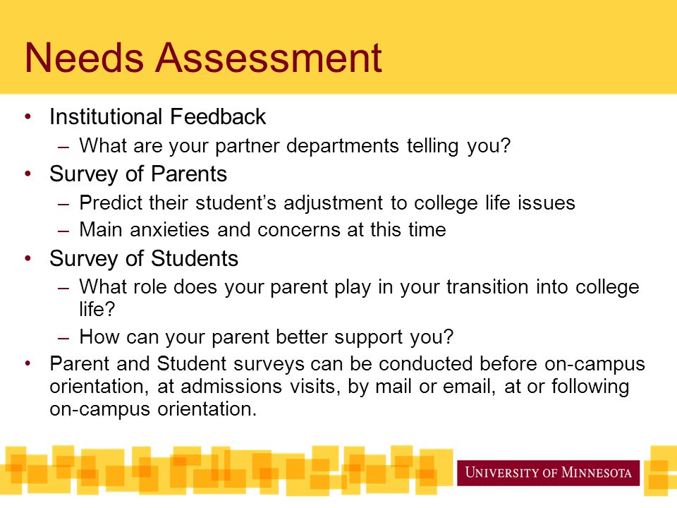 Needs Assessment Institutional Feedback Survey of Parents