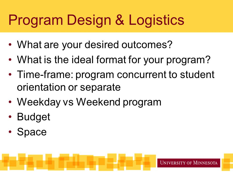 Program Design & Logistics