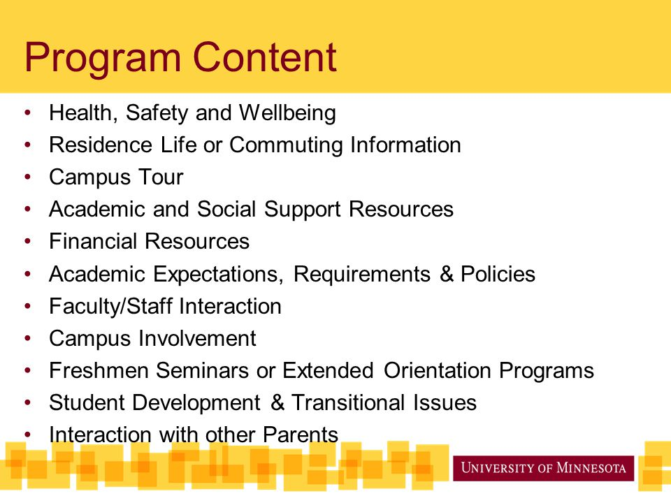 Program Content Health, Safety and Wellbeing