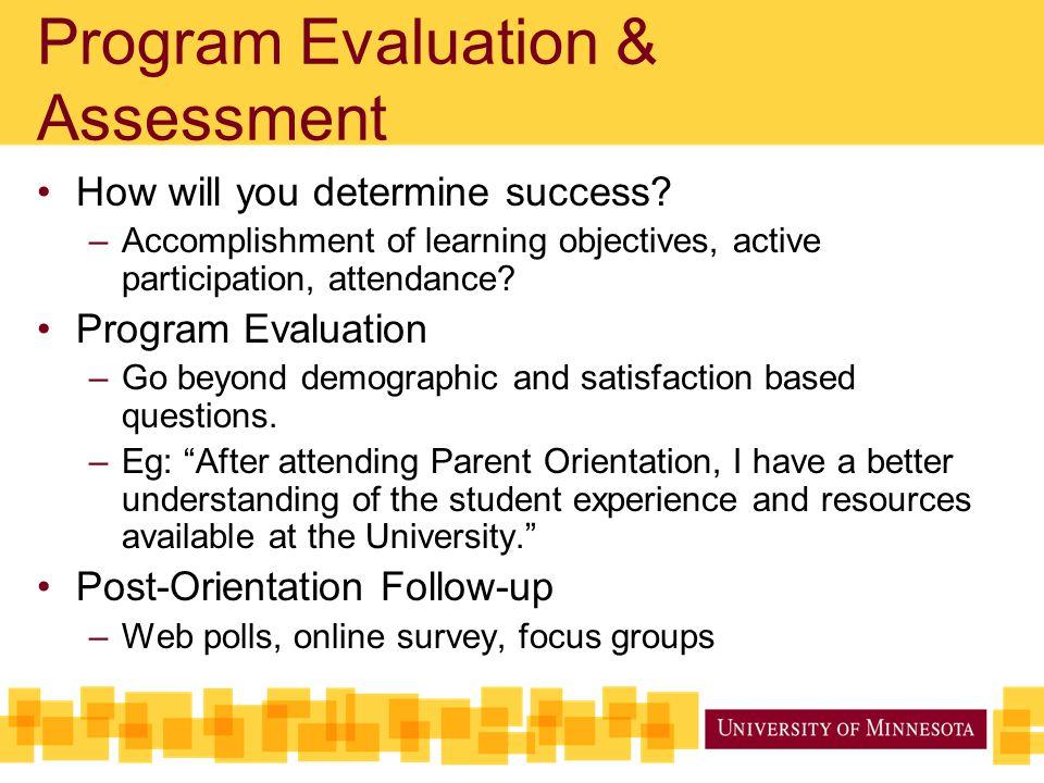 Program Evaluation & Assessment