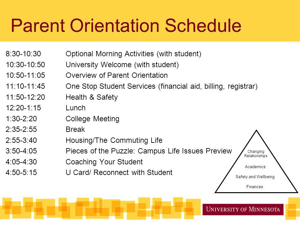 Parent Orientation Schedule