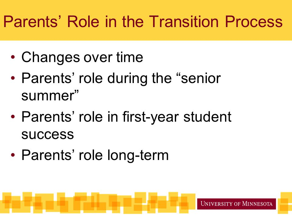 Parents' Role in the Transition Process