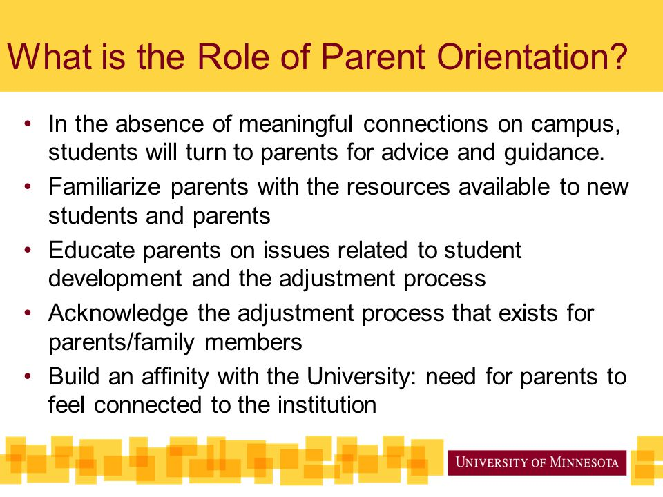 What is the Role of Parent Orientation