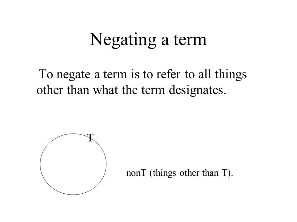 Negating a term To negate a term is to refer to all things other than what the term designates. T.