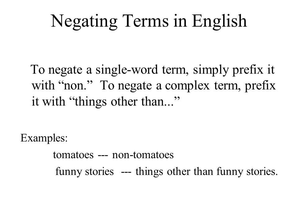 Negating Terms in English