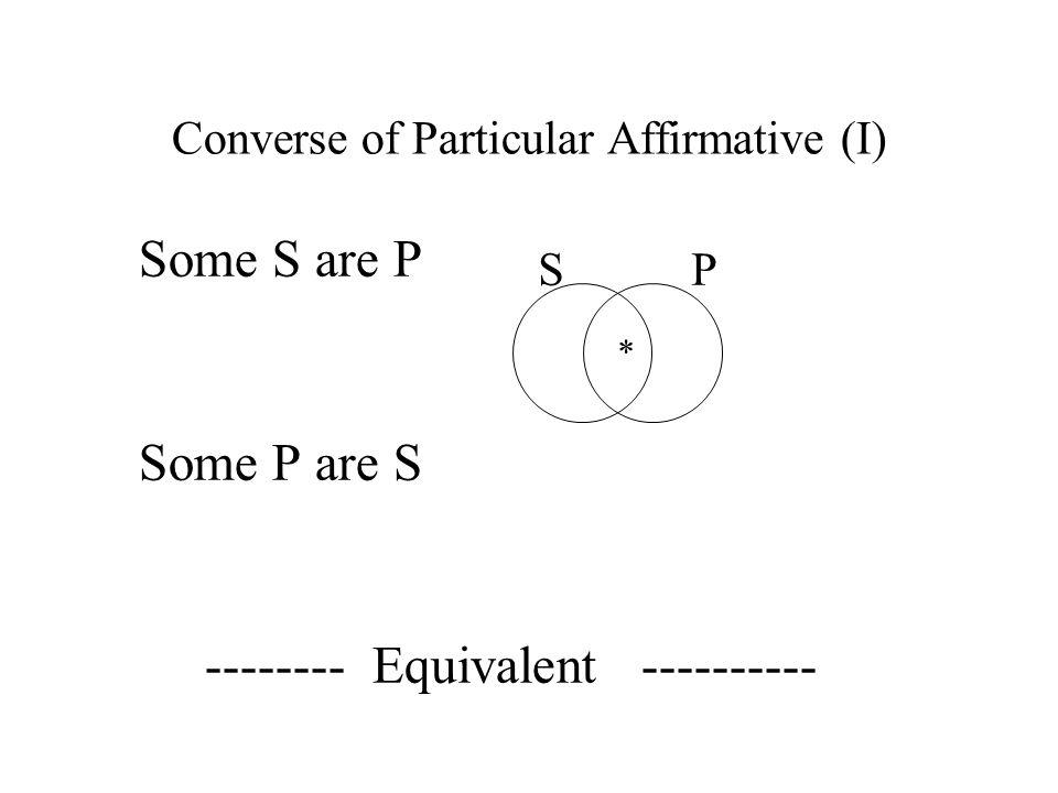 Converse of Particular Affirmative (I)