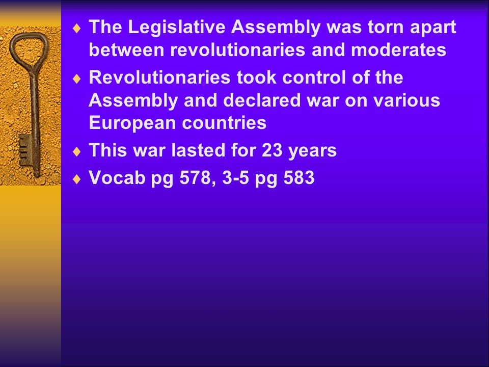 The Legislative Assembly was torn apart between revolutionaries and moderates