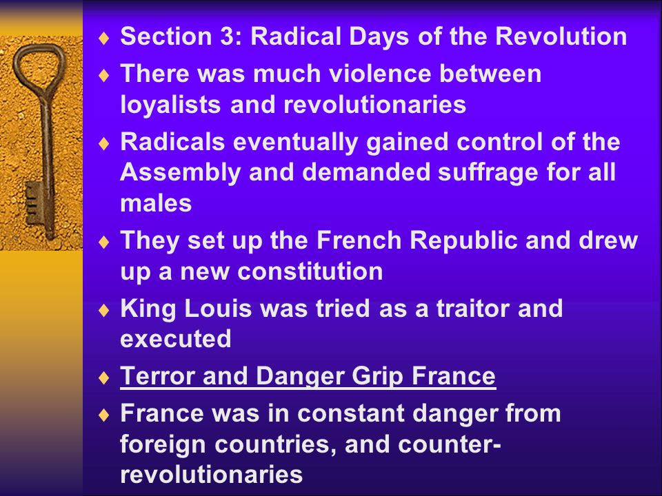 Section 3: Radical Days of the Revolution
