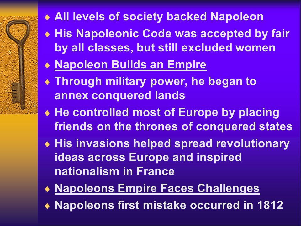 All levels of society backed Napoleon