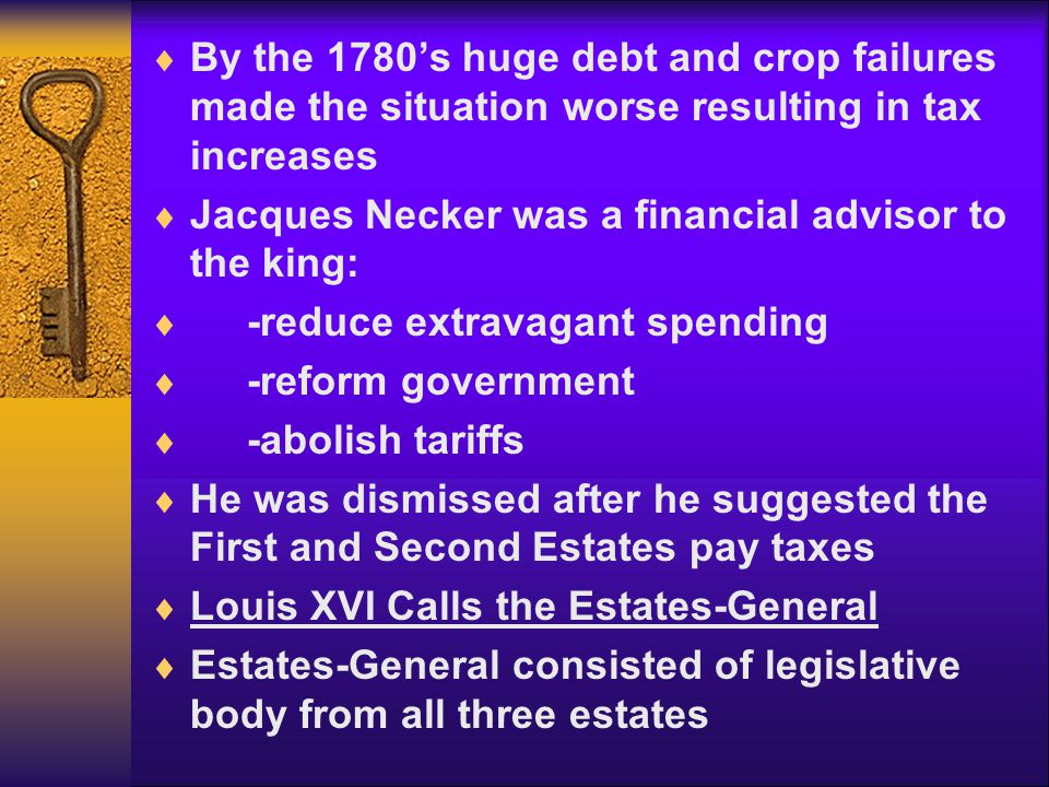 By the 1780's huge debt and crop failures made the situation worse resulting in tax increases