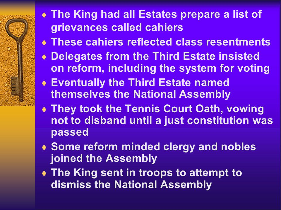 The King had all Estates prepare a list of grievances called cahiers