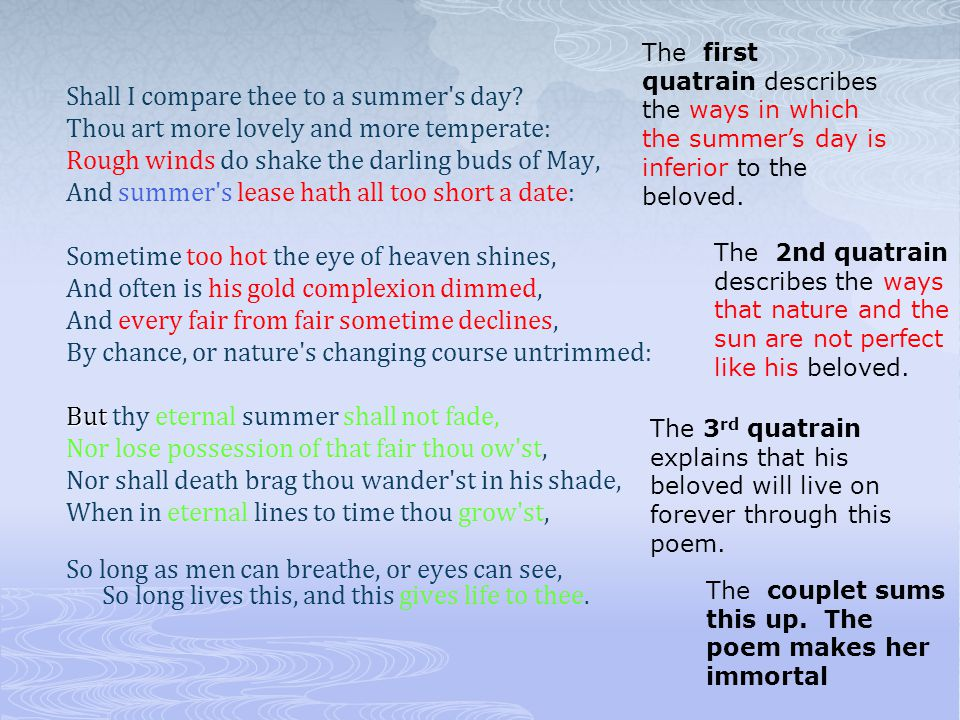 The first quatrain describes the ways in which the summer's day is inferior to the beloved.