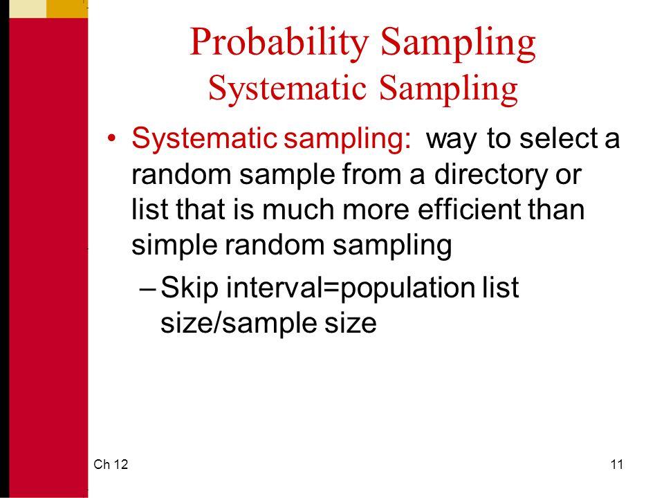Probability Sampling Systematic Sampling
