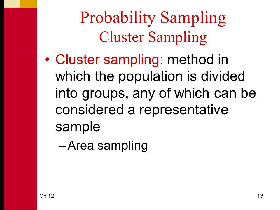 Probability Sampling Cluster Sampling