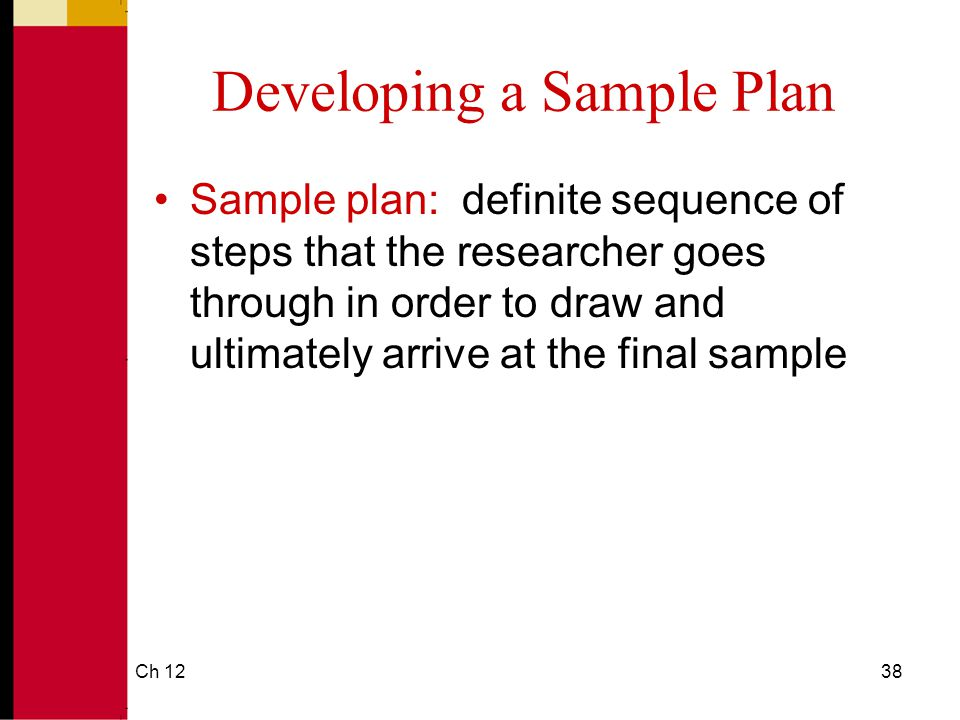 Developing a Sample Plan