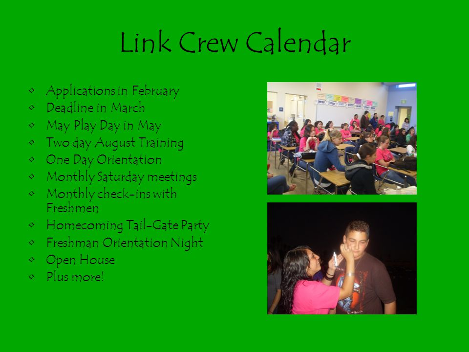 Link Crew Calendar Applications in February Deadline in March