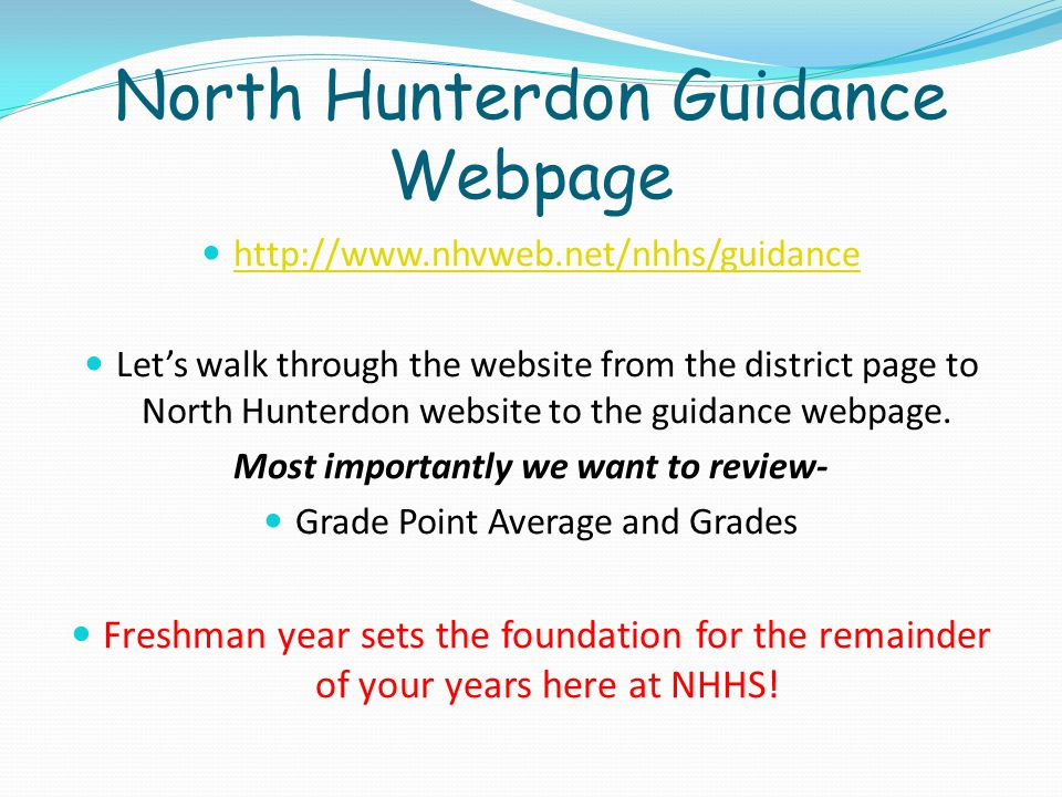 North Hunterdon Guidance Webpage
