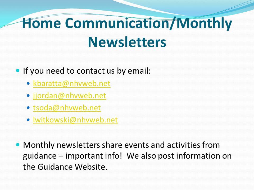 Home Communication/Monthly Newsletters