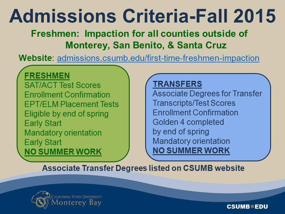 Admissions Criteria-Fall 2015