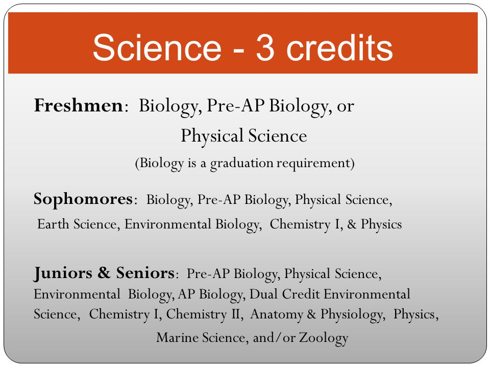Science - 3 credits Freshmen: Biology, Pre-AP Biology, or