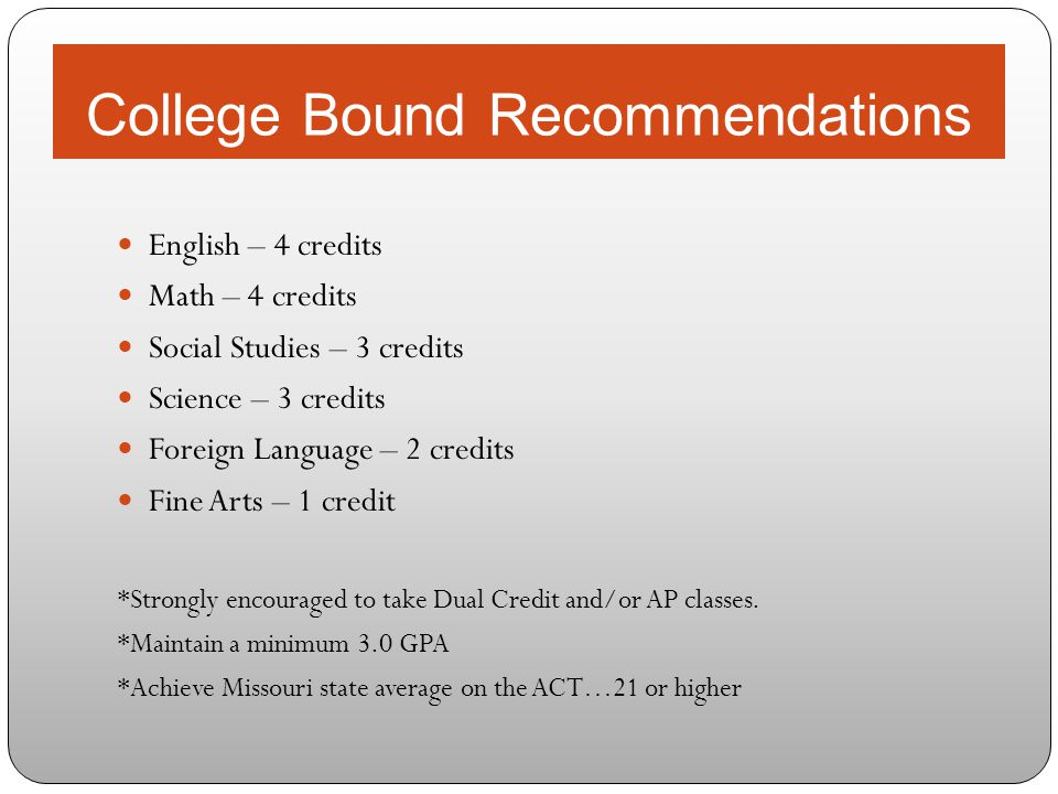 College Bound Recommendations