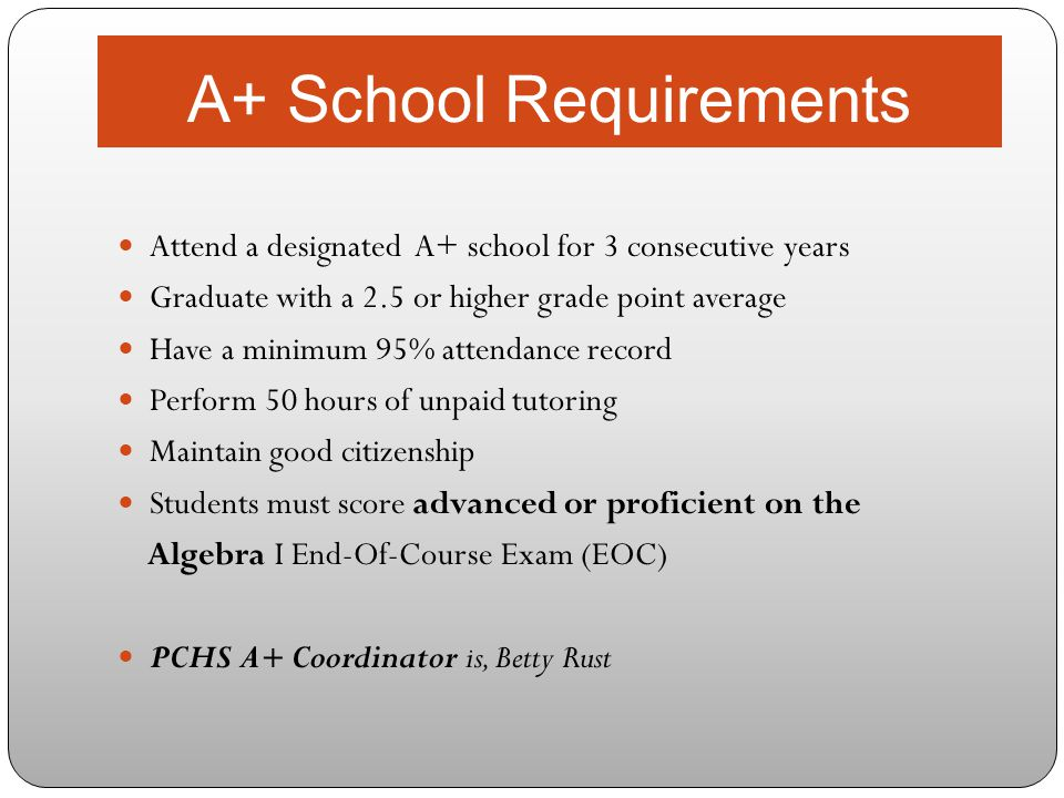 A+ School Requirements