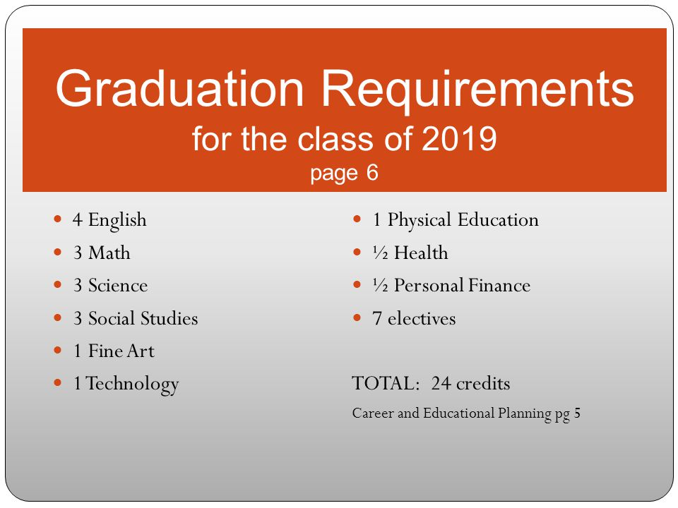 Graduation Requirements for the class of 2019 page 6