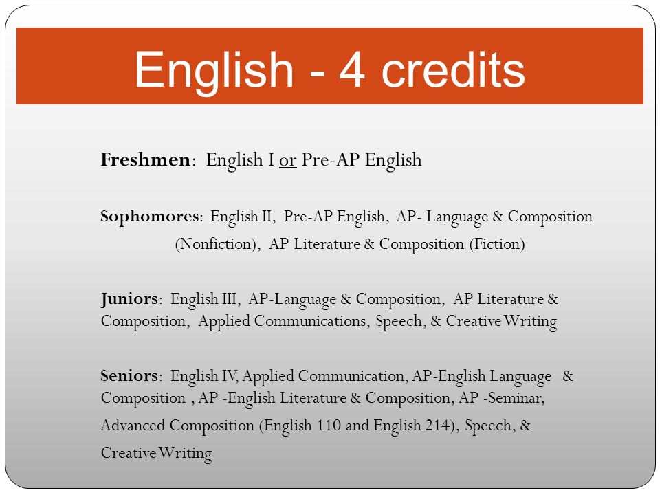 English - 4 credits Freshmen: English I or Pre-AP English