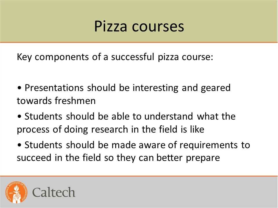 Pizza courses
