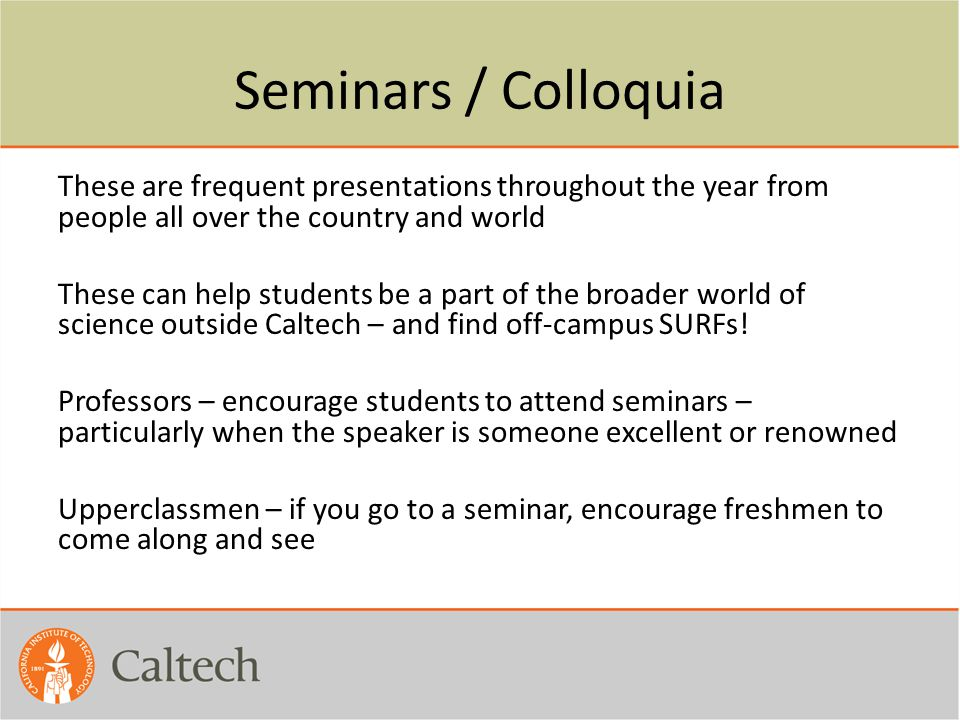Seminars / Colloquia