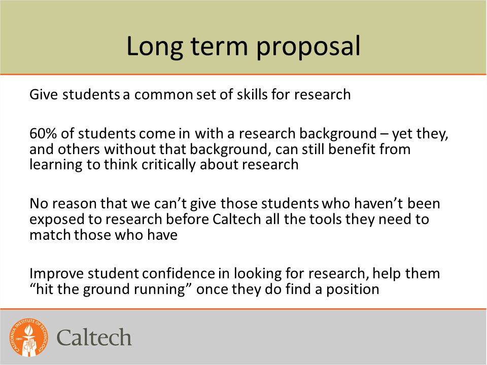 Long term proposal