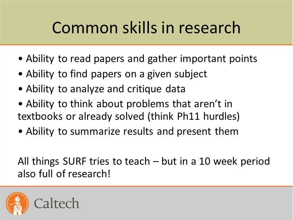 Common skills in research