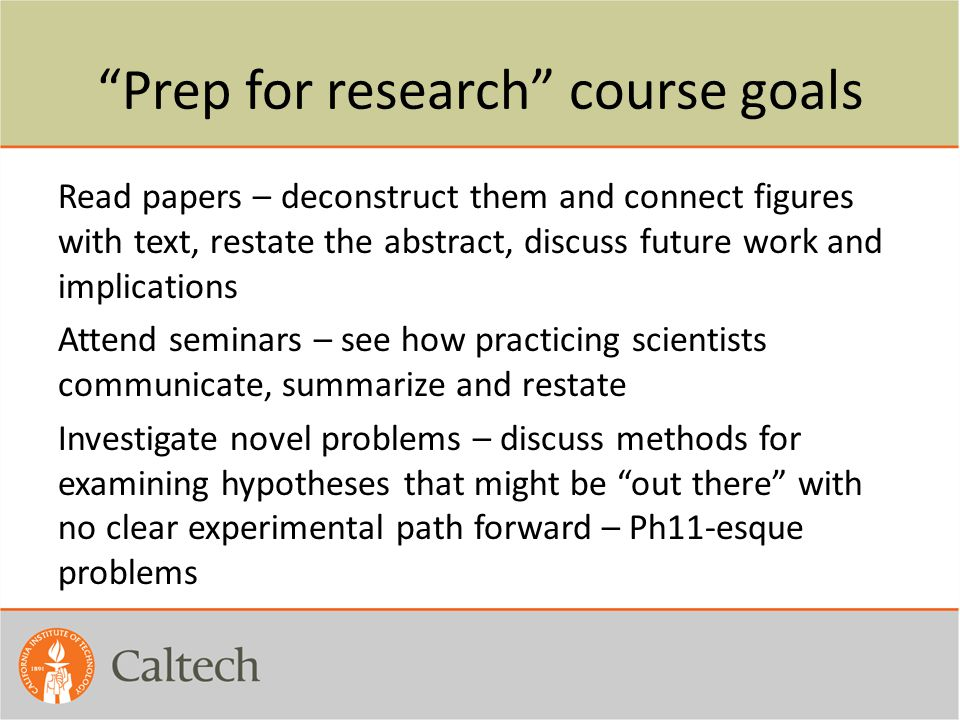 Prep for research course goals