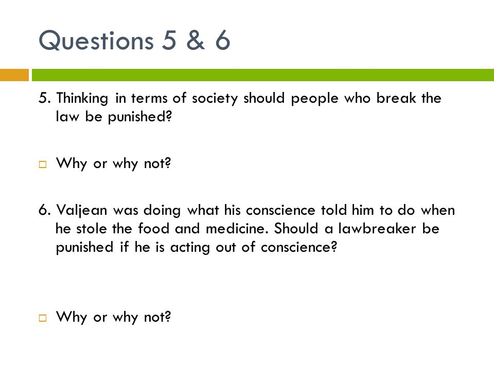 Questions 5 & 6 5. Thinking in terms of society should people who break the law be punished Why or why not