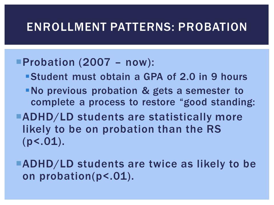Enrollment patterns: Probation
