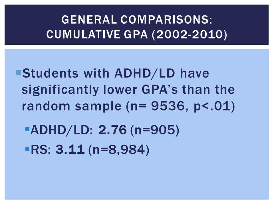 General Comparisons: Cumulative GPA (2002-2010)