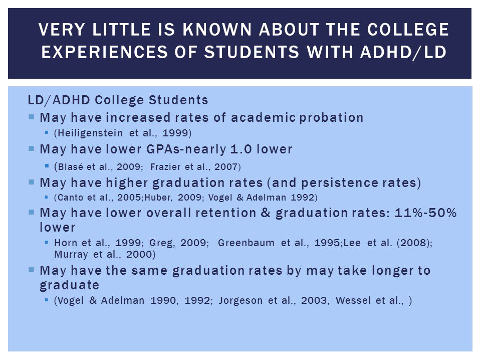 Very little is known about the college experiences of students with ADHD/LD